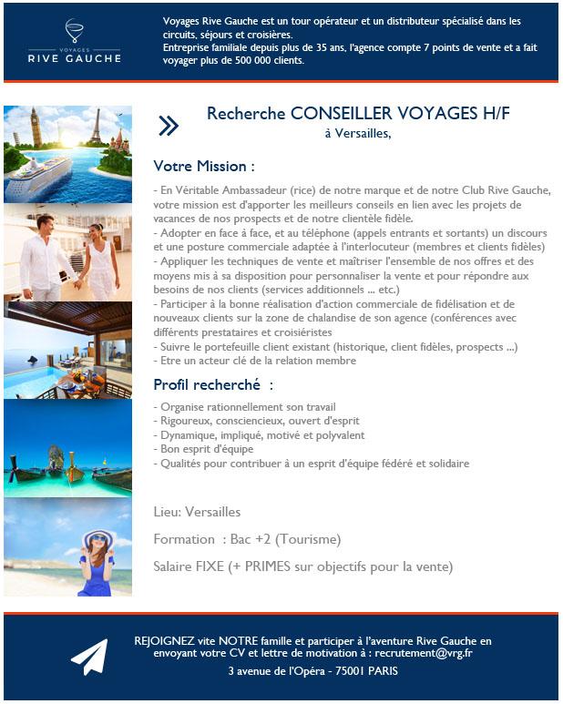 Voyages Rive Gauche recherche UN CONSEILLER VOYAGES H/F à Versailles - Pour postuler : recrutement@vrg.fr