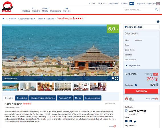 ITAKA propose des séjours en Tunisie sur son site Internet - Capture d'écran