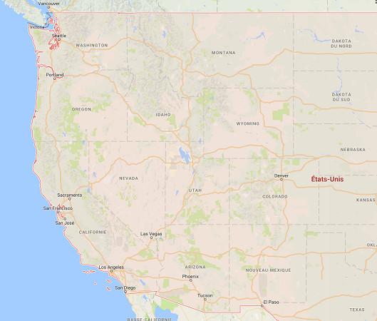 La Californie au Sud et le Washington au nord-est des USA sont en état d'alerte face aux incendies - DR : Google Maps