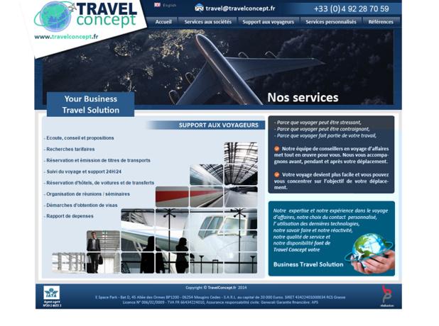 Travel Concept est une société spécialisée dans les voyages d'affaires - Capture d'écran