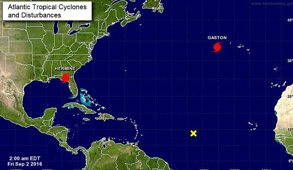 Le NHC suit la progression de l'ouragan Hermine en Floride - DR : NHC