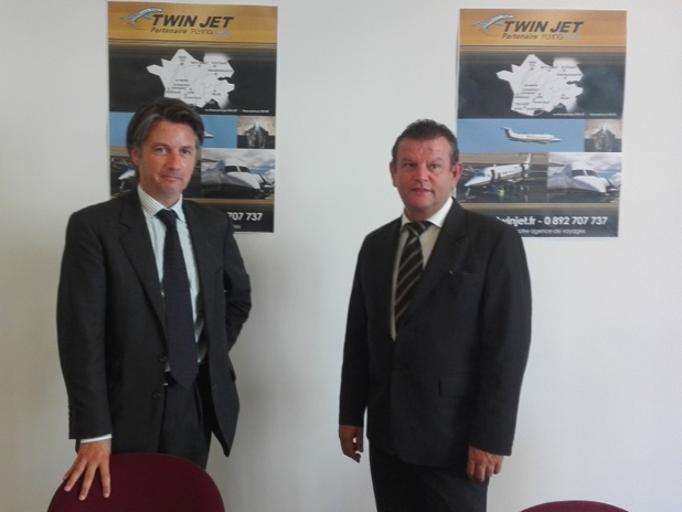 De gauche à droite : Guillaume Cllinot, directeur général, et Olivier Manaut, président de Twin Jet - Photo : P.C.