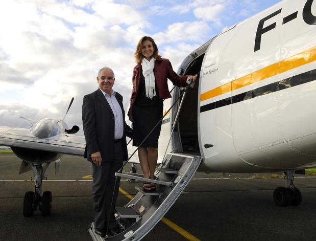 Jean-Louis Baroux et  Sandrine de Saint Sauveur, Présidente d'APG Airlines - Photo APG