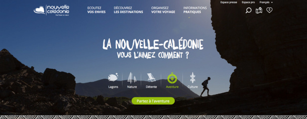 Capture d'écran du nouveau site Internet de Nouvelle-Calédonie Tourisme
