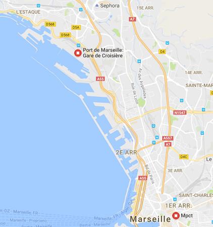 Le navire est resté au MPCT ce mercredi 14 septembre 2016 - DR : Google Maps