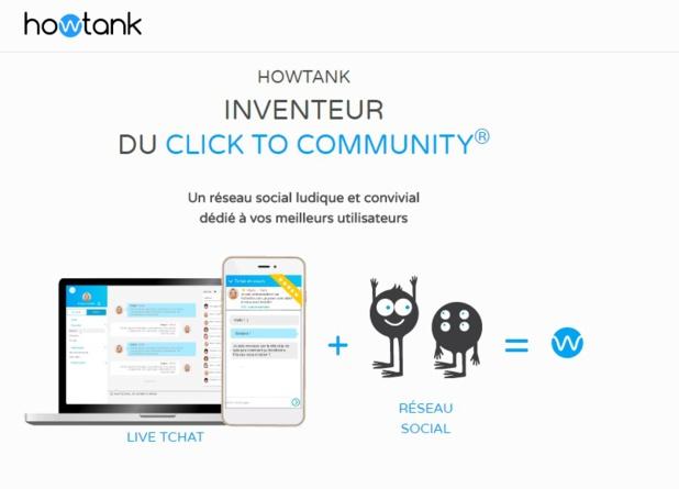 Après le click-to-chat, Howtank souhaite imposer un « click-to-community » qui va remplacer les forums avec une dimension de temps-réel et une relation de confiance (c) howtank.com