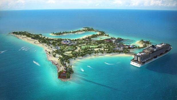 MSC a investi dans une île aux Bahamas. L'objectif est double : créer une réserve marine privée et proposer une nouvelle destination unique aux passagers. Ocean Cay MSC Marine Reserve disposera de 6 plages, un amphithéâtre de 2 000 places, un village typique des Bahamas, avec restaurants, bars et boutiques. Elle sera accessible en octobre 2018 - DR : MSC Croisières