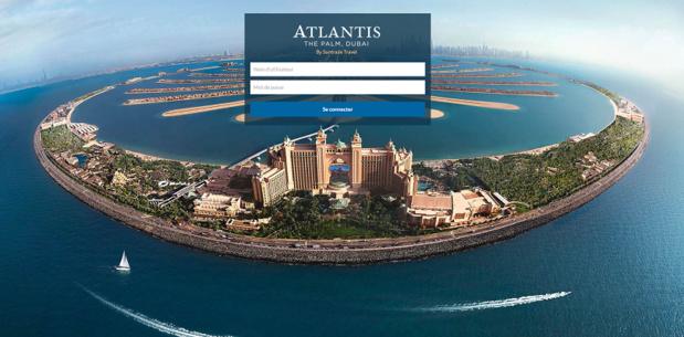 Suntrade met en ligne une plateforme réservée aux agents de voyages français pour la distribution d'offres de séjours packagées autour de l'hôtel Atlantis The Palm de Dubaï - Capture d'écran