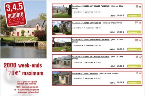 Gîtes de France : 2000 week-ends à 70 euros en octobre