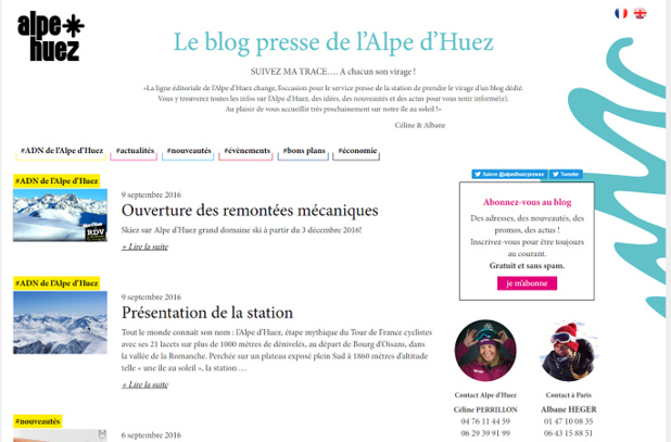 The press blog of Alpe d'Huez has the objective of replacing documentation and press releases aimed at journalists - screenshot