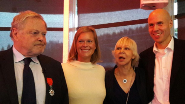 Michel Messager entouré de sa famille, sa femme Karine, son fils Alexandre et sa belle-fille Lyne - Photo : M.S.