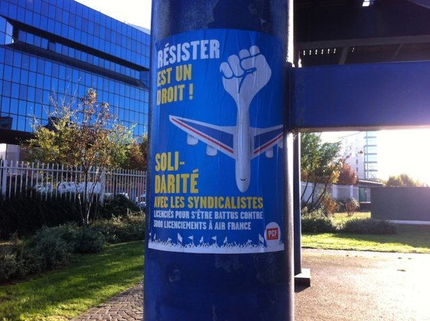 Manifestation de soutien au salariés d'Air France au tribunal de Bobigny - DR : LAC