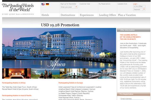 The Leading Hotels of the World : 13,26 € la nuit pour ses 80 ans