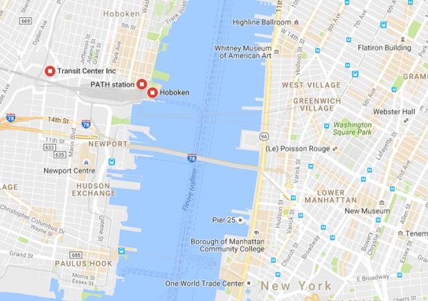 La gare d'Hoboken est située juste en face de Manhattan, de l'autre côté de l'Hudson - DR : Google Maps