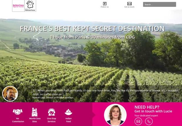 The new BtoB website launched by Hauts-de-France aimed at Indian professionals - screenshot