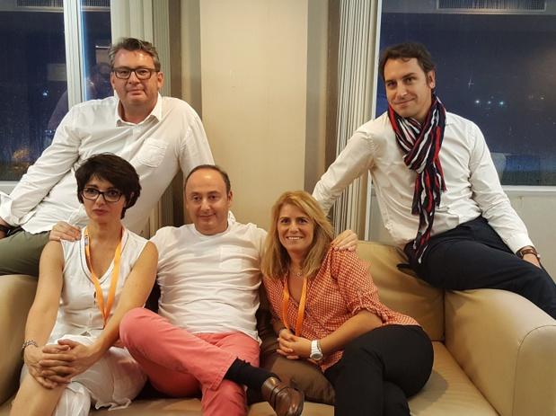 Laurent Abitbol (au centre) entouré (de g. à dr.) par Laurent Maucort, Carole Cresson Giraud, Cécile Eglessies et Rémy Pons - DR : A.B.