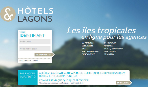 Plus de 2 500 agences de voyages se connectent quotidiennement au site professionnel d'Hôtels & Lagons - Capture d'écran
