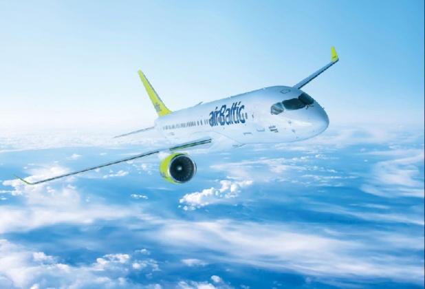Un Bombardier CS300 de la compagnie airBaltic - DR