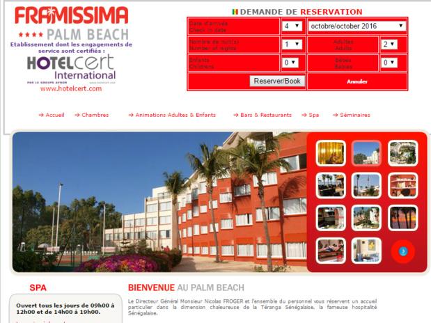 Capture d'écran du site Internet du Framissima Palm Beach de Saly