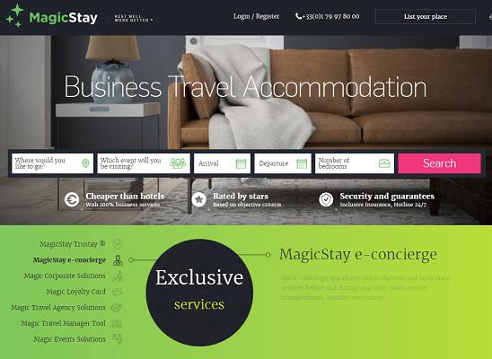 MagicStay est une plateforme en ligne de location d'appartements de courte durée dédiée aux voyageurs d'affaires - Capture d'écran