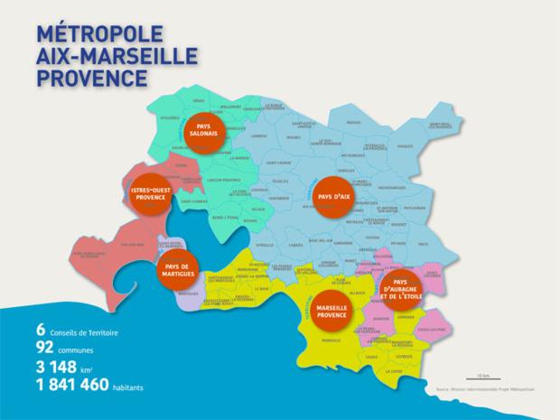 La carte de la métropole Aix-Marseille-Provence - DR : Aix-Marseille-Provence