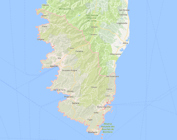 Figari Sud Corse et Ajaccio Napoléon Bonaparte sont les deux aéroports de Corse du Sud - DR : Google Maps