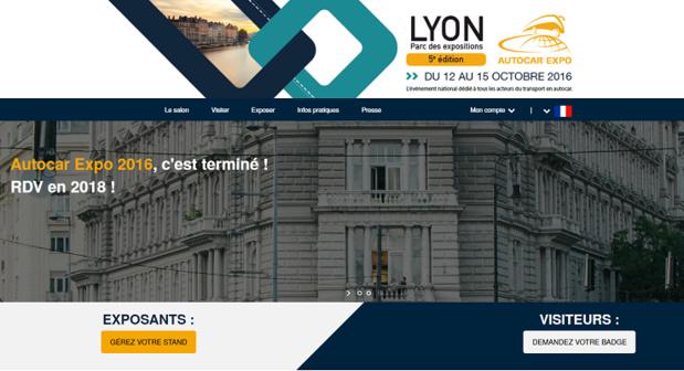 Sur son site Internet, Autocar Expo donne rendez-vous en 2018 - Capture d'écran