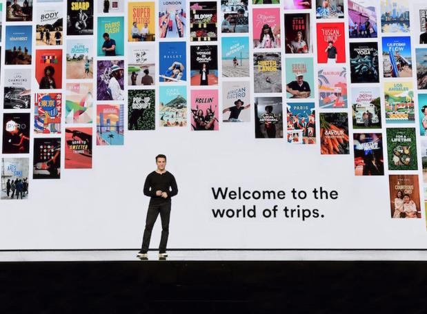 """""""Nous voulons rendre le voyage magique en mettant les gens au cœur de chaque voyage."""" déclare Brian Chesky, CEO d'Airbnb, sur la scène du Airbnb Open à Los Angeles (c) Airbnb"""
