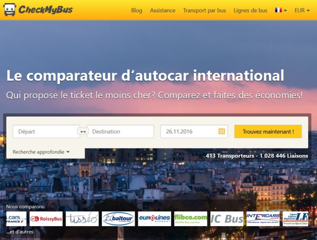 CheckMyBus comparateur d'autocar - Capture écran