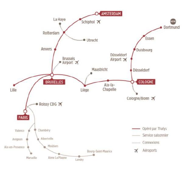 Thalys opèrera en direct en Allemagne et lance une 5ème liaison vers Essen