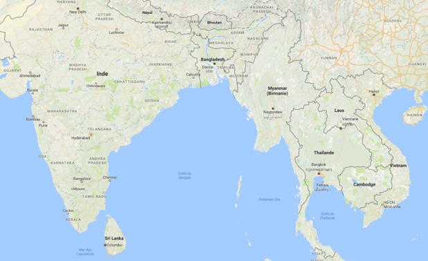 L'Inde et le Vietnam vont être frappés respectivement par un cyclone et une tempête - Carte GoogleMap