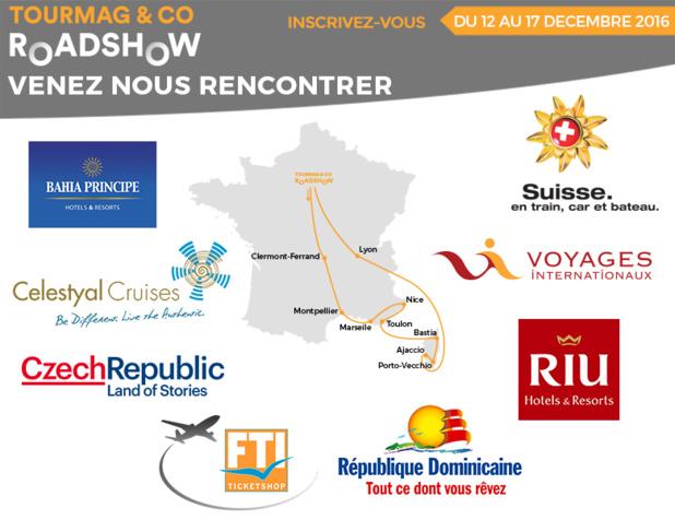 Les partenaires du TourMaG & Co Roadshow passeronta à Clermont-Ferrand, Montpellier, Toulon, Nice, Marseille, Porto-Vecchio, Bastia, Ajaccio et Lyon - DR