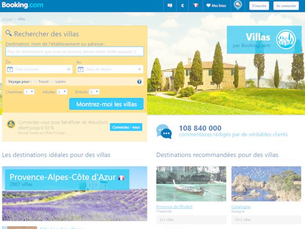 Lancé en 2014, la plateforme Villas.com a commencé à héberger près de 150 000 propriétés, elle est venue concurrencer les pionniers comme HomeAway ou encore Airbnb (c) Capture Booking.com