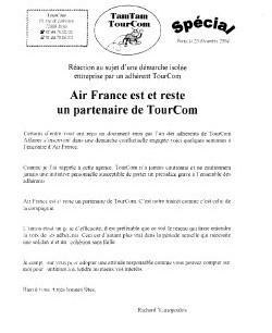 TourCom : ''Air France est et reste un partenaire''
