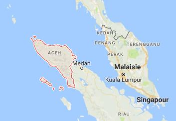 La province d'Aceh se trouve dans le nord de l'île de Sumatra, en Indonésie - DR : Google Maps