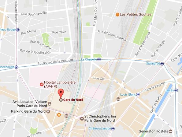 Le trafic est paralysé en Gare du Nord, à Paris - DR : Google Maps