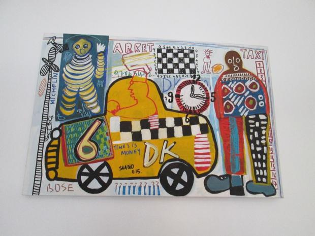 L'artiste sénégalais Saadio s'inspire des scène de la rue, des enseignes murales. On commence à voir ses œuvres dans les galeries européennes - Photo M.S.