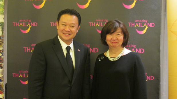 "Monsieur Yuthasak Supasorn ""Governor Tourism Authority of Thailand"" et Madame  Areerat Chunprapanusorn directrice de l'Office du Tourisme implanté en France. Photo MS."
