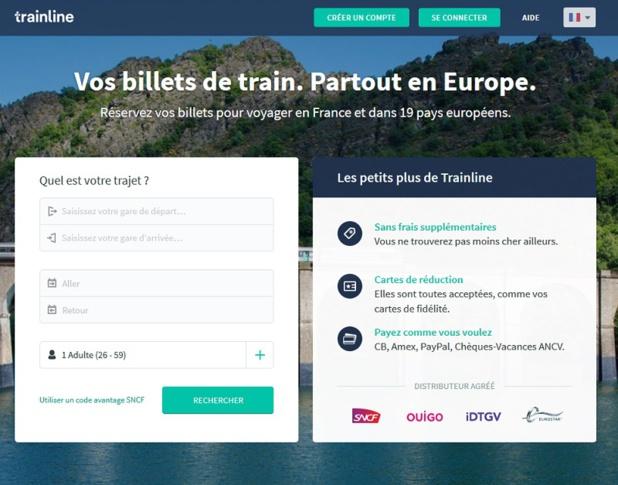 Le site Trainline spécialiste de la vente de billets de train - Capture écran