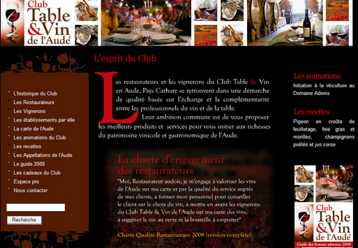 Le ''Club Table et Vins de l'Aude'' sur Internet