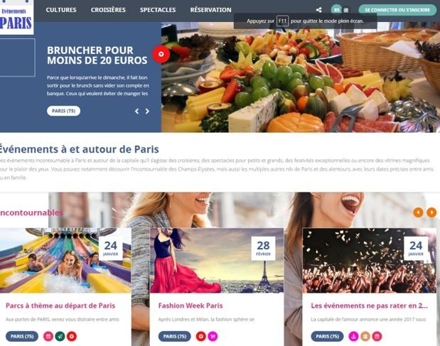 Le site présente différentes catégories pour une recherche plus facile par département ou thématiques - DR : Capture d'écran Evenementsaparis.com
