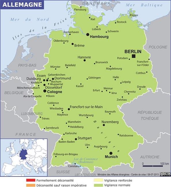 La carte de l'Allemagne publiée par le MAE - Photo DR MAE