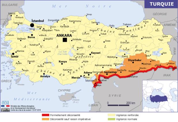 La carte publiée par le MAE sur la Turquie - Image DR Quai d'Orsay