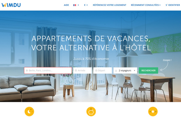 Le site Wimdu propose à la location des logements privés - Capture écran