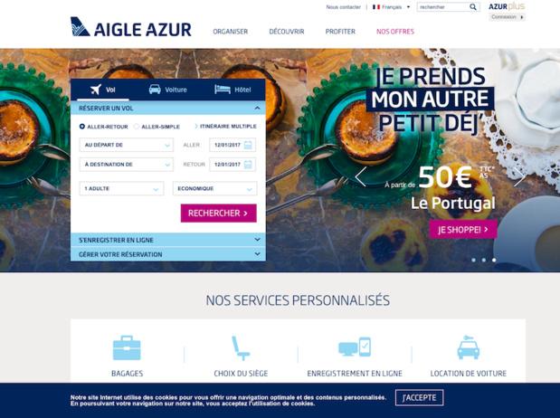 Cette nouvelle page d'accueil a été conçue pour répondre aux attentes de la clientèle de façon plus personnalisée, mettant en avant des services additionnels et des partenaires pertinents selon la demande (c) Capture d'écran site Aigle Azur