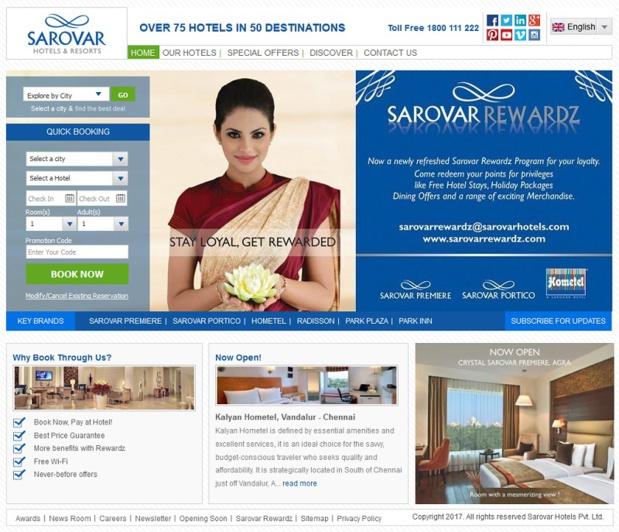 Le site internet de Sarovar Hotels en Inde - Dr Capture écran