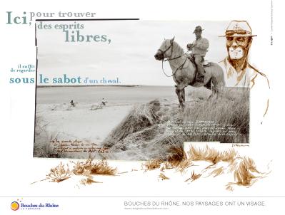 Le visuel dédié à la Camargue et créé par Titouan Lamazou