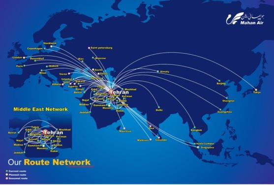 Le réseau de Mahan Air - DR