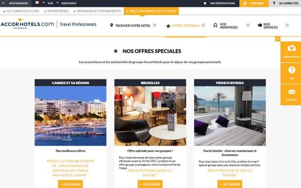 La nouvelle rubrique lancée par AccorHotels dédiée aux offres spéciales - Capture écran