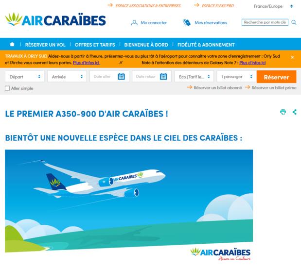 Le site web de la compagnie Air Caraïbes met l'A350-900 à l'honneur - DR Capture écran